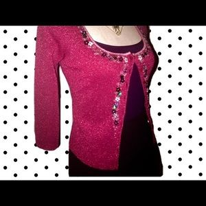 💋BETSEY JOHNSON Red HOT! Embroidered Cardigan!